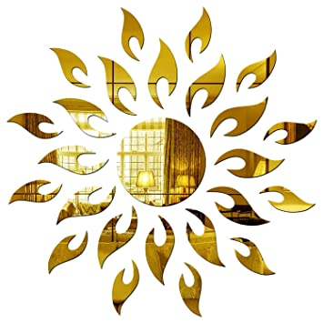 Wall1ders - Sun with Extra Flame Golden 45 cm x 45 cm (Pack of 25) 3D Acrylic Mirror Wall Stickers for Bed Room, Living Room & Home Office. Wall Stickers at amazon