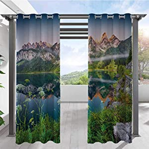 Home Curtains Misty Summer Morning on Austrian Alps Mountain Range with Lake Wanderlust Landscape Home Fashion Window Panel Drapes for Pavilion Farmhouse Cabin Green Blue W108 x L96 Inch