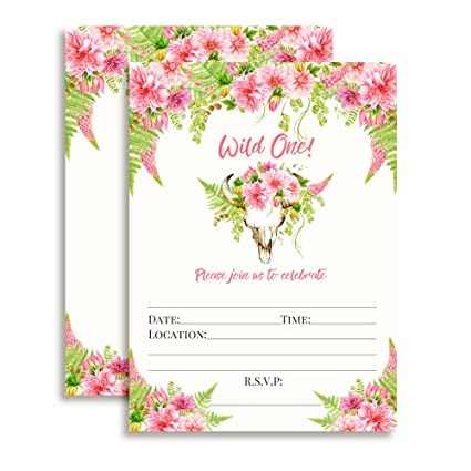 Amazon boho floral wild one girl birthday invitations ten 5x7 boho floral wild one girl birthday invitations ten 5quotx7quot fill in cards filmwisefo