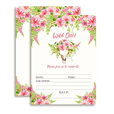 Amazon Boho Floral Wild One Girl Birthday Invitations 20 5x7