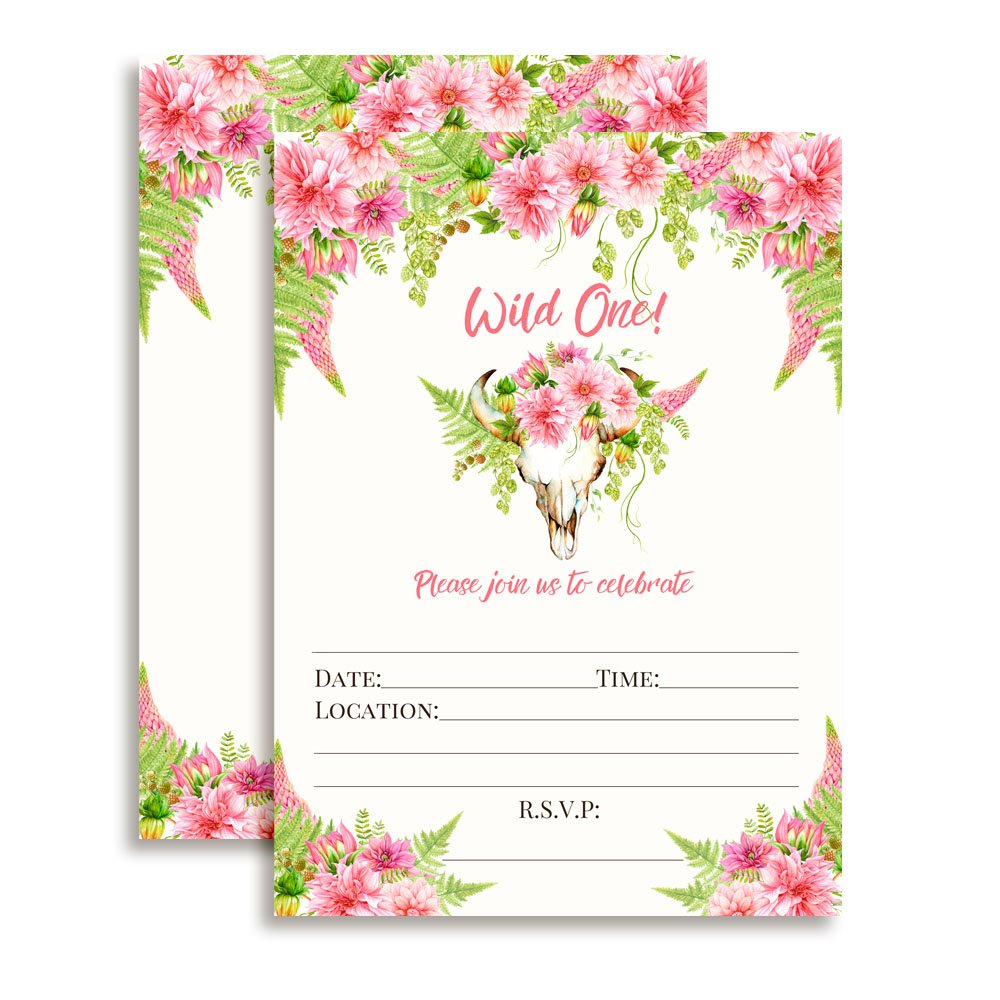Boho Floral Wild One Girl Birthday Invitations, 20 5''x7'' Fill in Cards with Twenty White Envelopes by AmandaCreation