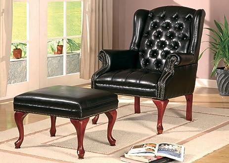 Dark Brown Vinyl Wing Chair And Ottoman