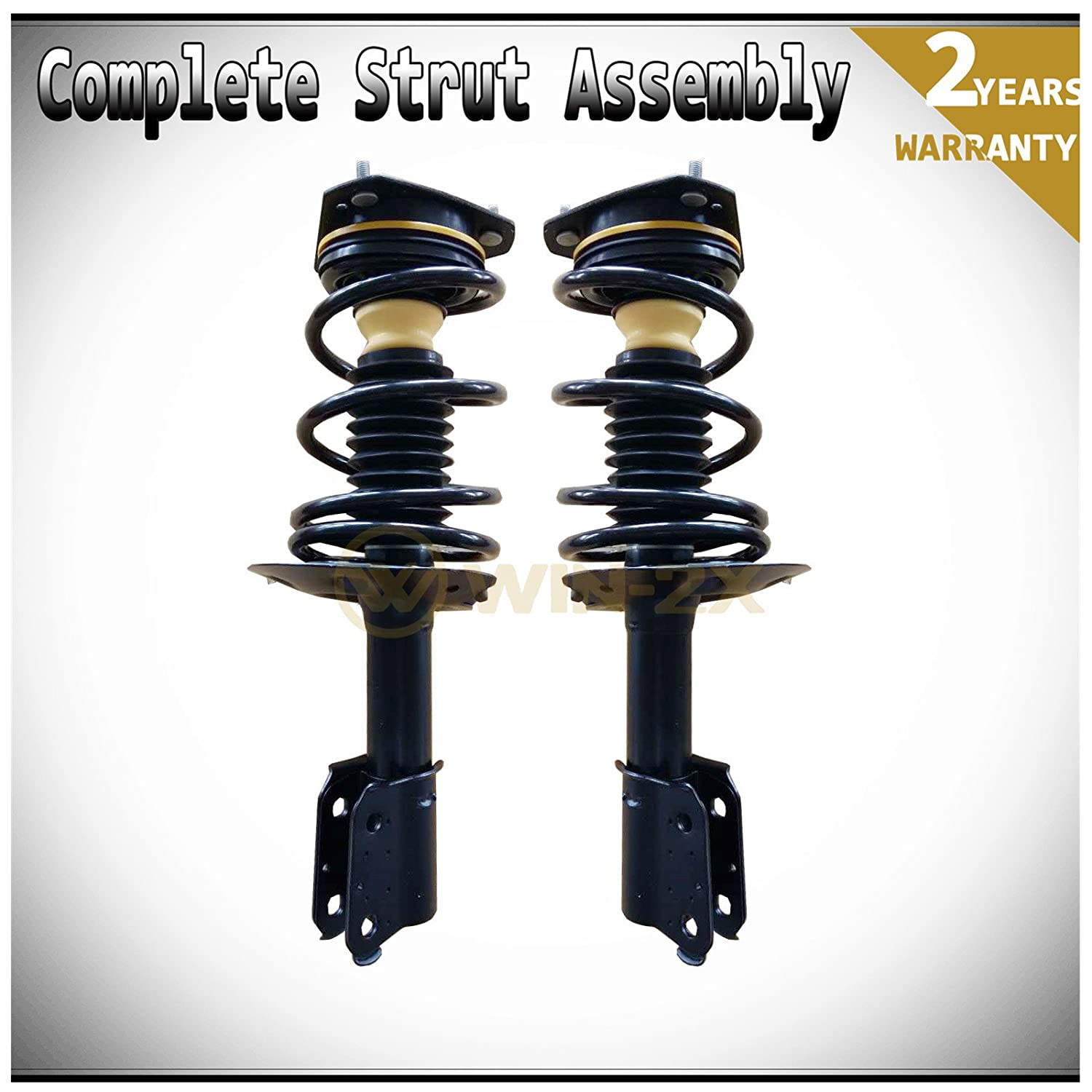 WIN-2X New 2pcs Front Left+Right Quick Complete Suspension Shock Struts & Coil Springs Assembly Kit Fit Buick/Pontiac/Chevy Century Regal Grand Prix Allure LaCrosse Monte Carlo Impala 16' & 17' Wheels