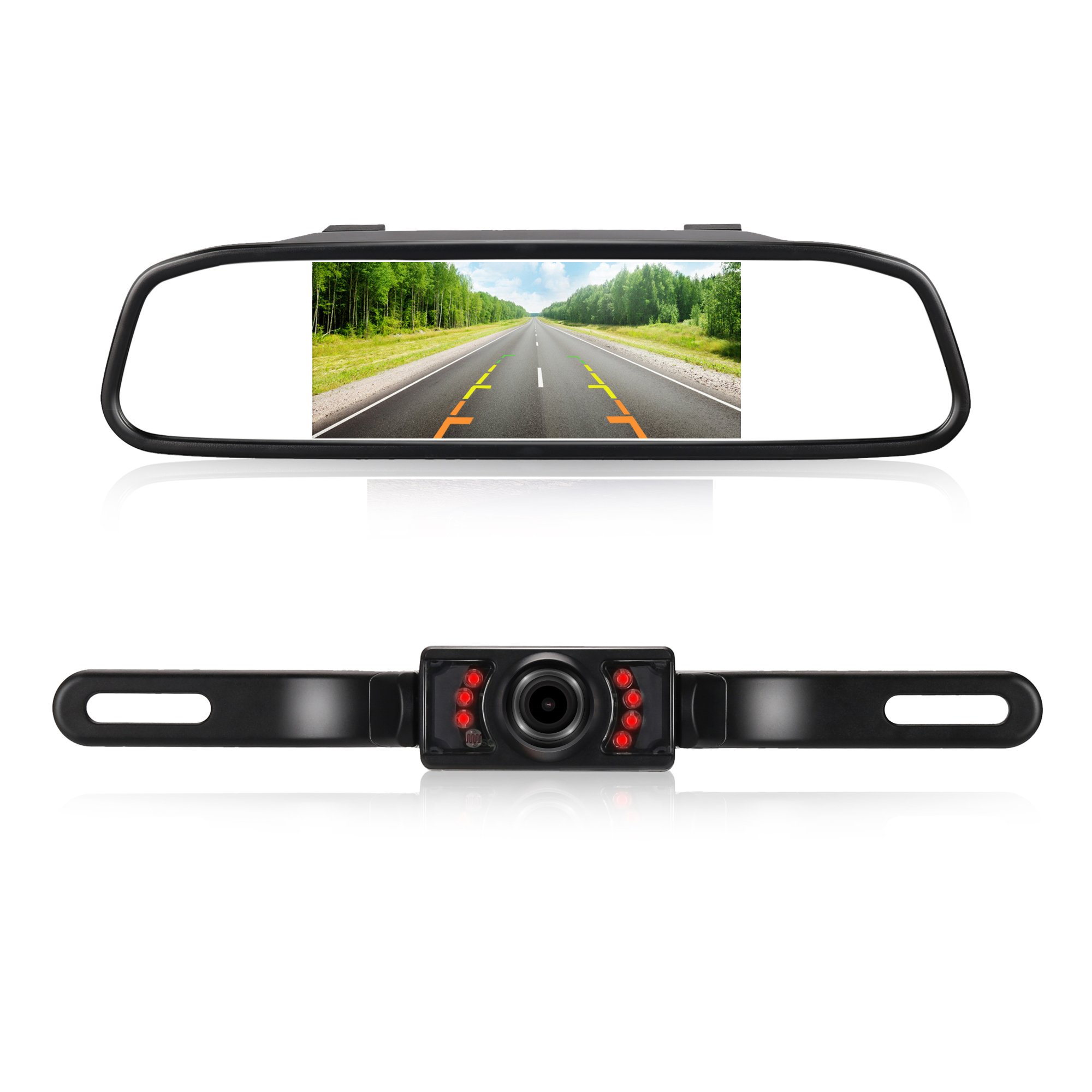 RAAYOO High Definition Color Wide Viewing Angle License Plate Car Rear View Camera with 4.3'' TFT Color LCD Monitor (L013+S4-005) by RAAYOO