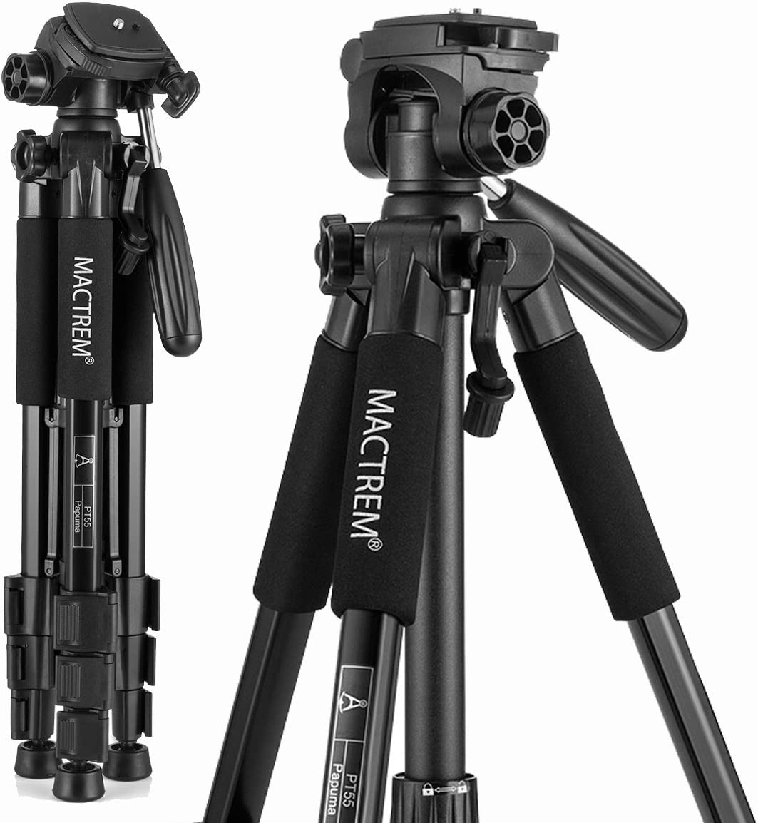 Mactrem PT55 Travel Camera Tripod Lightweight Aluminum for DSLR SLR Canon Nikon Sony Olympus DV with Carry Bag -11 lbs(5kg) Load (Black)