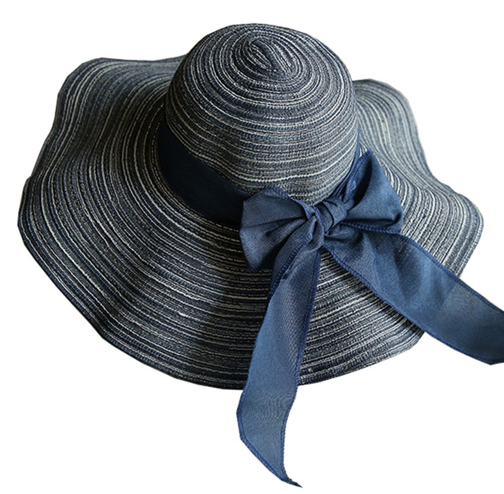 ZZCC Beach Summer Wide Sun Foldable Hat for Women Navy Blue