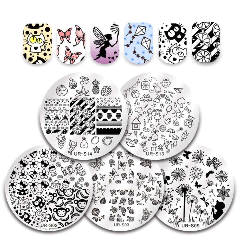 CoulorButtons 5Pcs UR SUGAR Nail Art Stamping Plates Set Flower Summer Fruit Animal Cartoon Round Image Template Kit for DIY Manicure Print