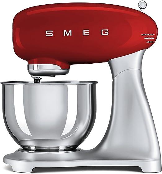 SMEG Batidora amasadora SMF01RDEU, 800 W, 4.8 litros, 0 Decibeles ...