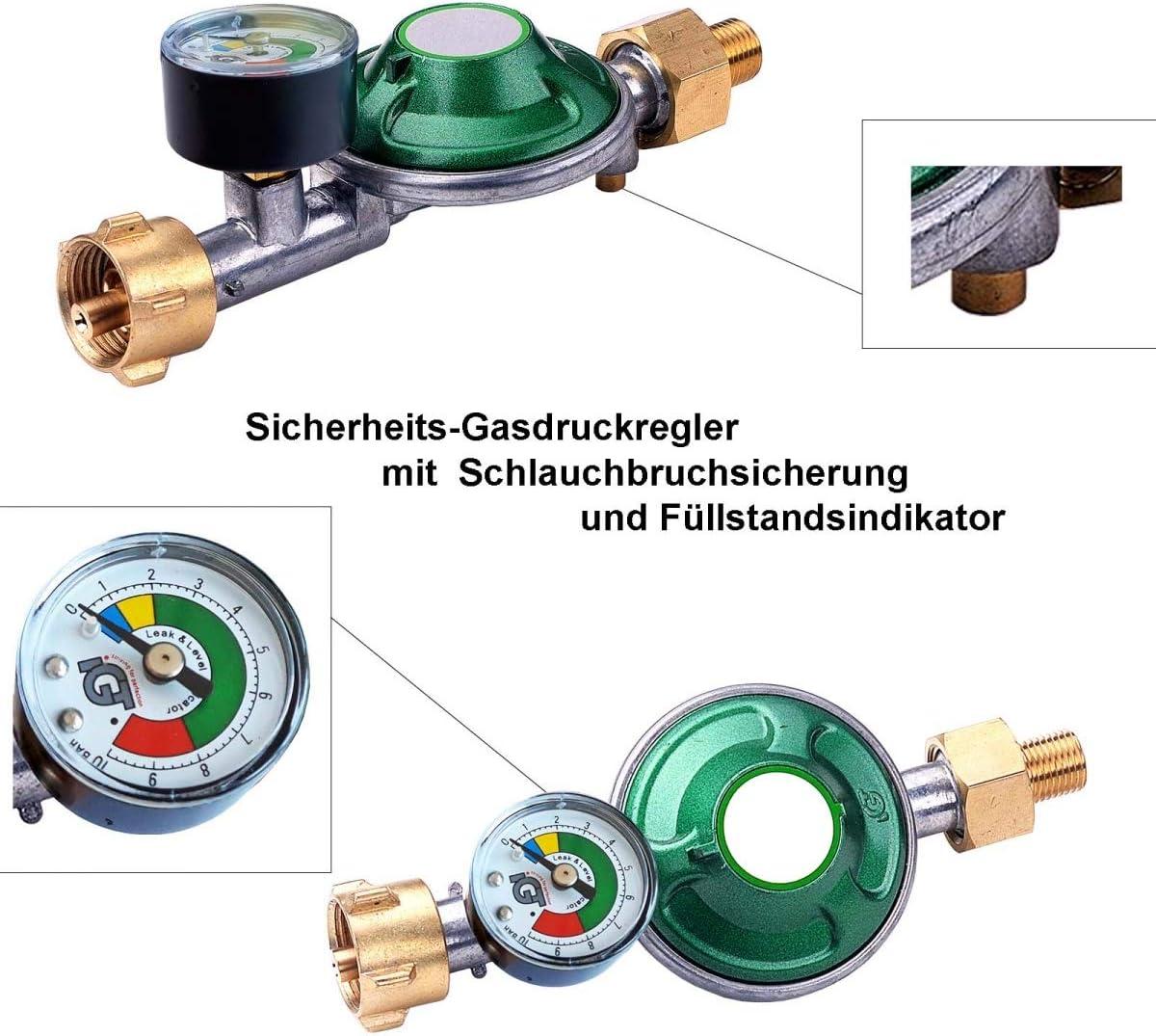 Gasdruckregler Füllstandsanzeige Druckregler Gasregler Camping Manometer 50 mbar