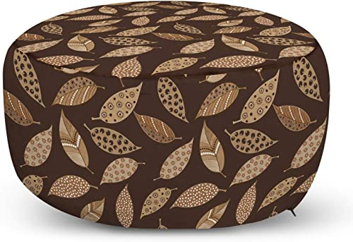 Ambesonne Leaves Ottoman Pouf