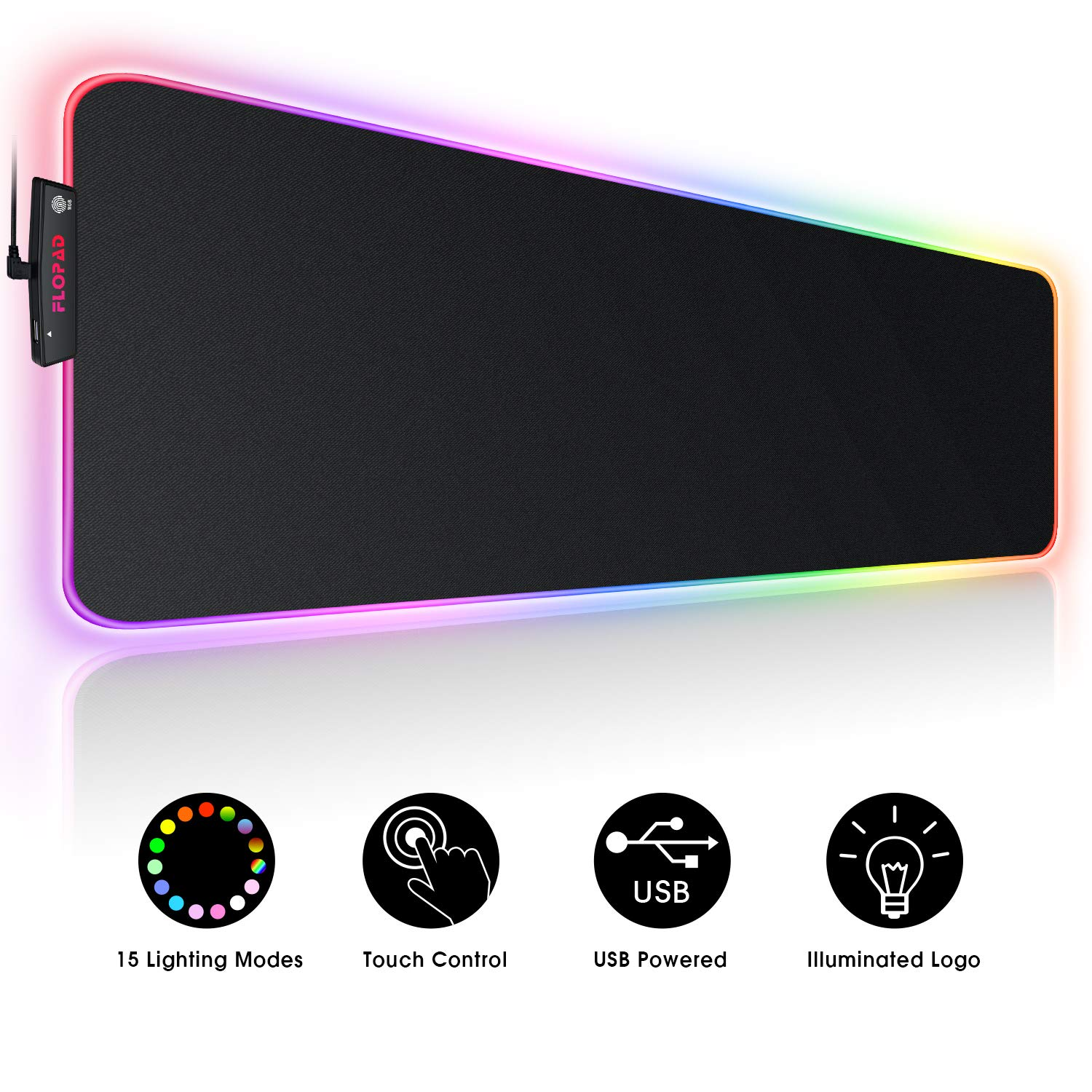 Large RGB Gaming Mouse Pad - 15 Light Modes Touch Control Extended Soft Computer Keyboard Mat, Durable Stitched Edges and Non-Slip Rubber Base for Gamer, Esports Pros, Office Working 31.5X11.8in by FLOPAD