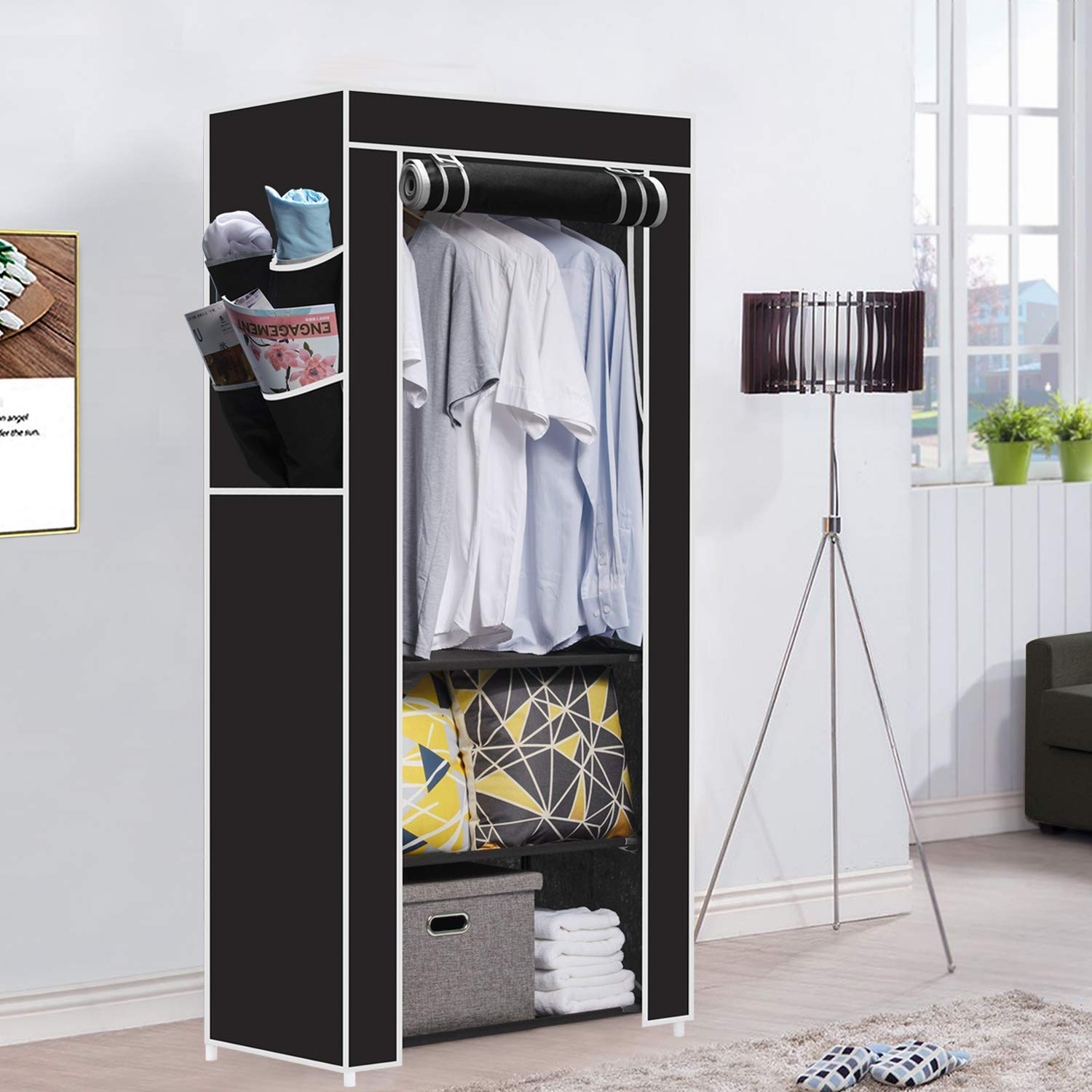 Magnificent Hapilife Single Canvas Wardrobe Clothes Storage Cupboard With 2 Storage Shelves Hanging Rail Bedroom Furniture Black 165 X 70 X 45Cm Home Interior And Landscaping Oversignezvosmurscom