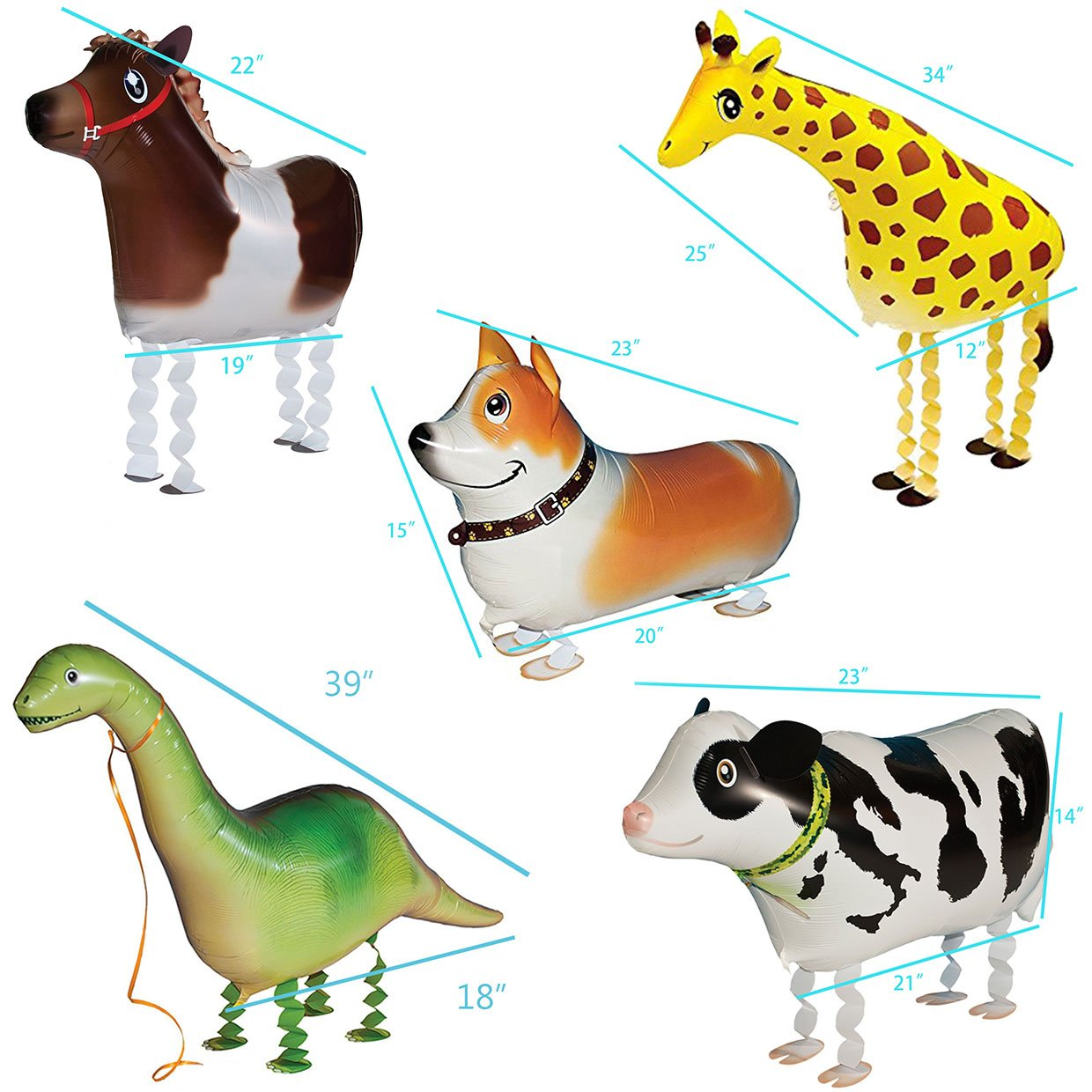 5pcs Walking Pet Animal Balloons Kids toys Party Favors Gifts for Girls Air Walker group-F by Merveilleux (Image #6)