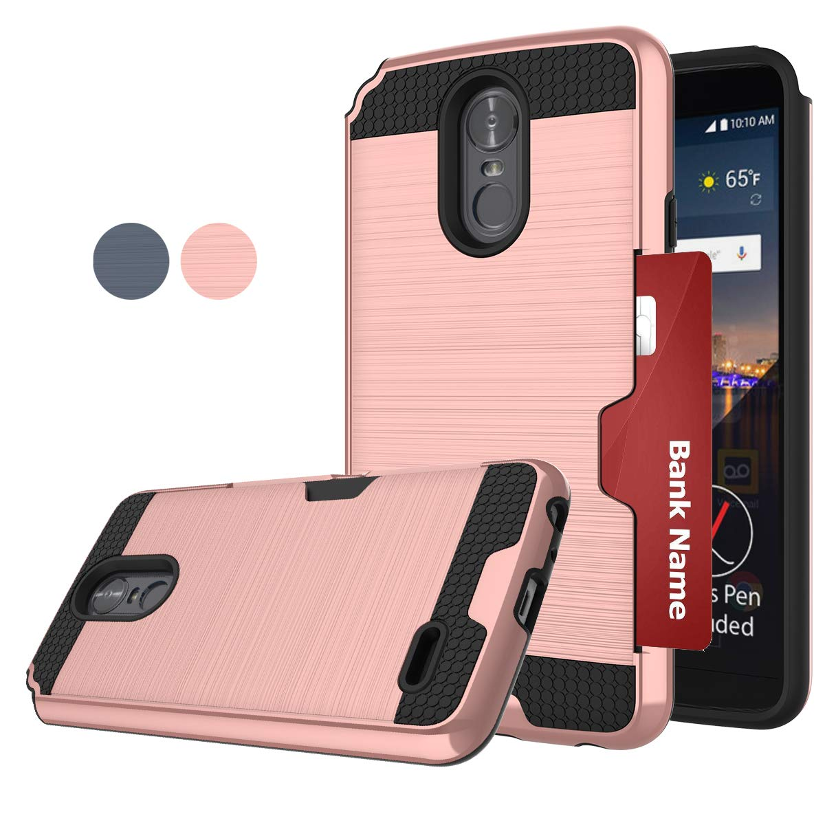LDStars LG Stylo 3 Phone Case,LG Stylus 3 Case, Stylo 3 Plus LS777 Phoen Cover, [Brushed Texture] PC & TPU Dual Layer Shockproof Protective Case with Card Slots Holder-Rose Gold