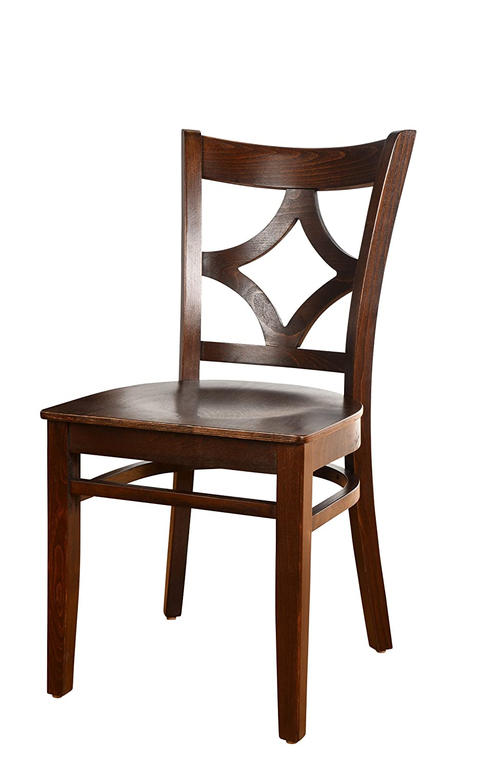 Beechwood Mountain BSD-23SS-W Solid Beech Wood Side Chairs in Walnut with wood seat for Kitchen and dining, set of 2