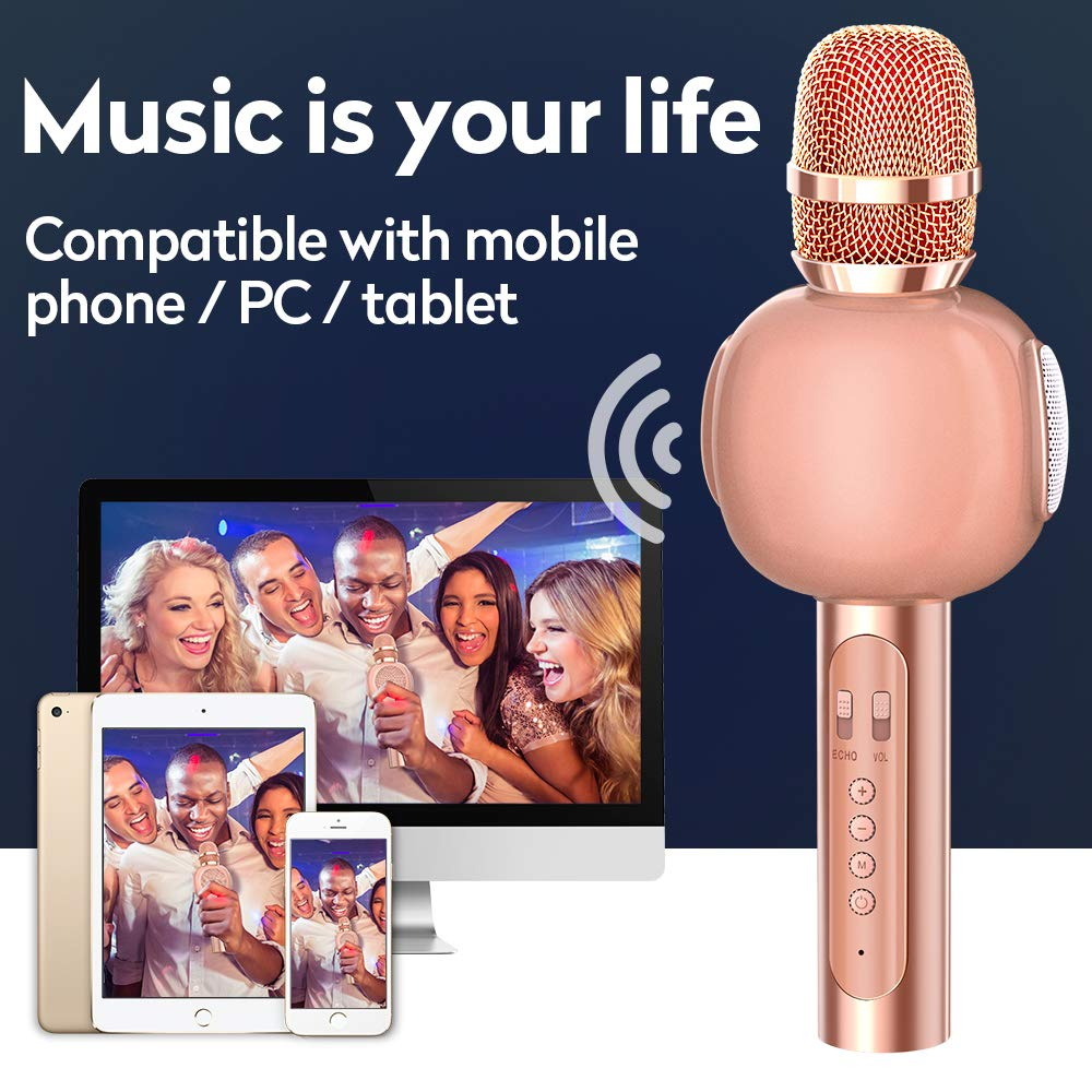 KVDUKOA Karaoke Microphone, Portable Handheld Wireless Bluetooth Karaoke Mic Machine for Home, Party, Birthday Gifts and Kids Girls Toy (Rose Gold) by KVDUKOA (Image #5)