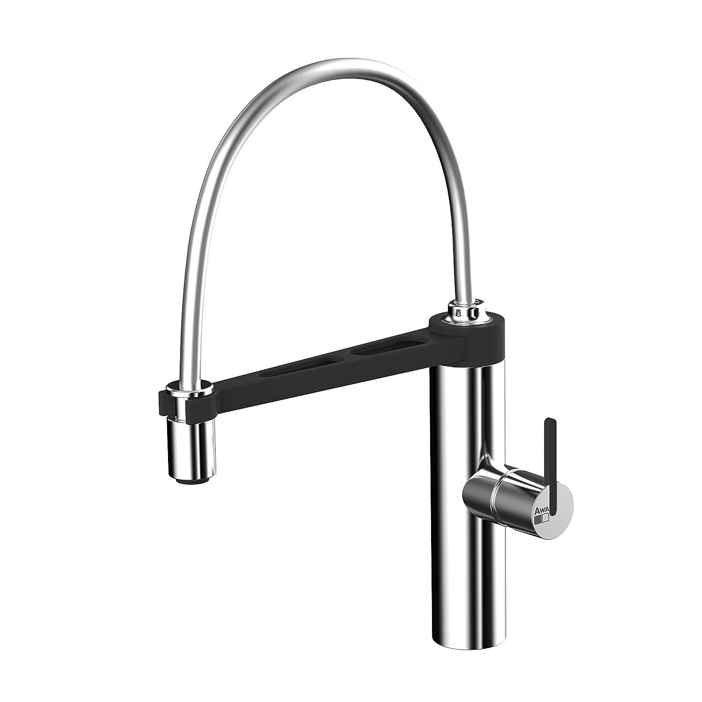 awa - jun - rubinetto miscelatore da cucina con doccetta - nero e ... - Miscelatore Da Cucina