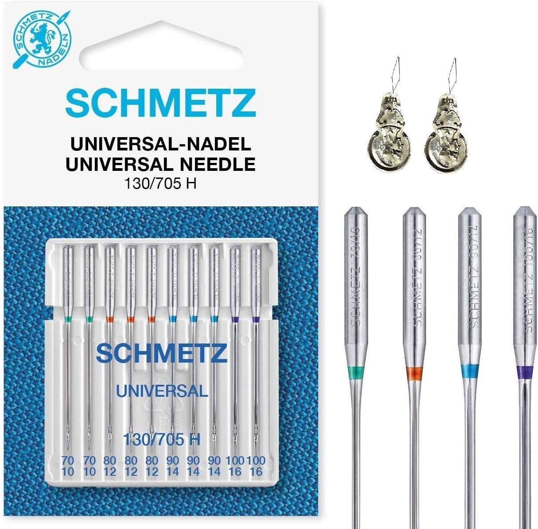 Schmetz - Agujas para máquina de coser (normal), varios tamaños 70/10, 80/12, 90/14 y 100/16, paquete de 10 Assorted 70-100 +2 Threaders