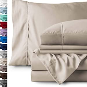 Bare Home 6 Piece 1800 Collection Deep Pocket Bed Sheet Set - Ultra-Soft Hypoallergenic - 2 Extra Pillow Cases (Queen, Sand)