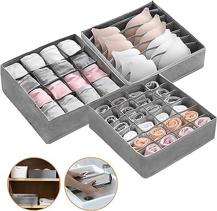 BHS 32 Cells //Grau Schublade Organizer Kleiderschrankschubladen Divider Collapsible f/ür Socken Panties und Krawatten 2 St/ück Aufbewahrungsbox f/ür Unterw/äsche