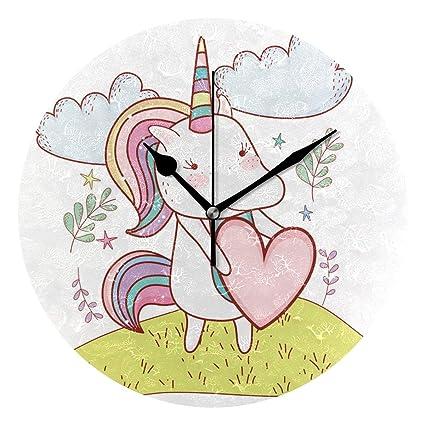 Amazoncom Veta Megica Cute Unicorn At Nature Drawings Wall Clock