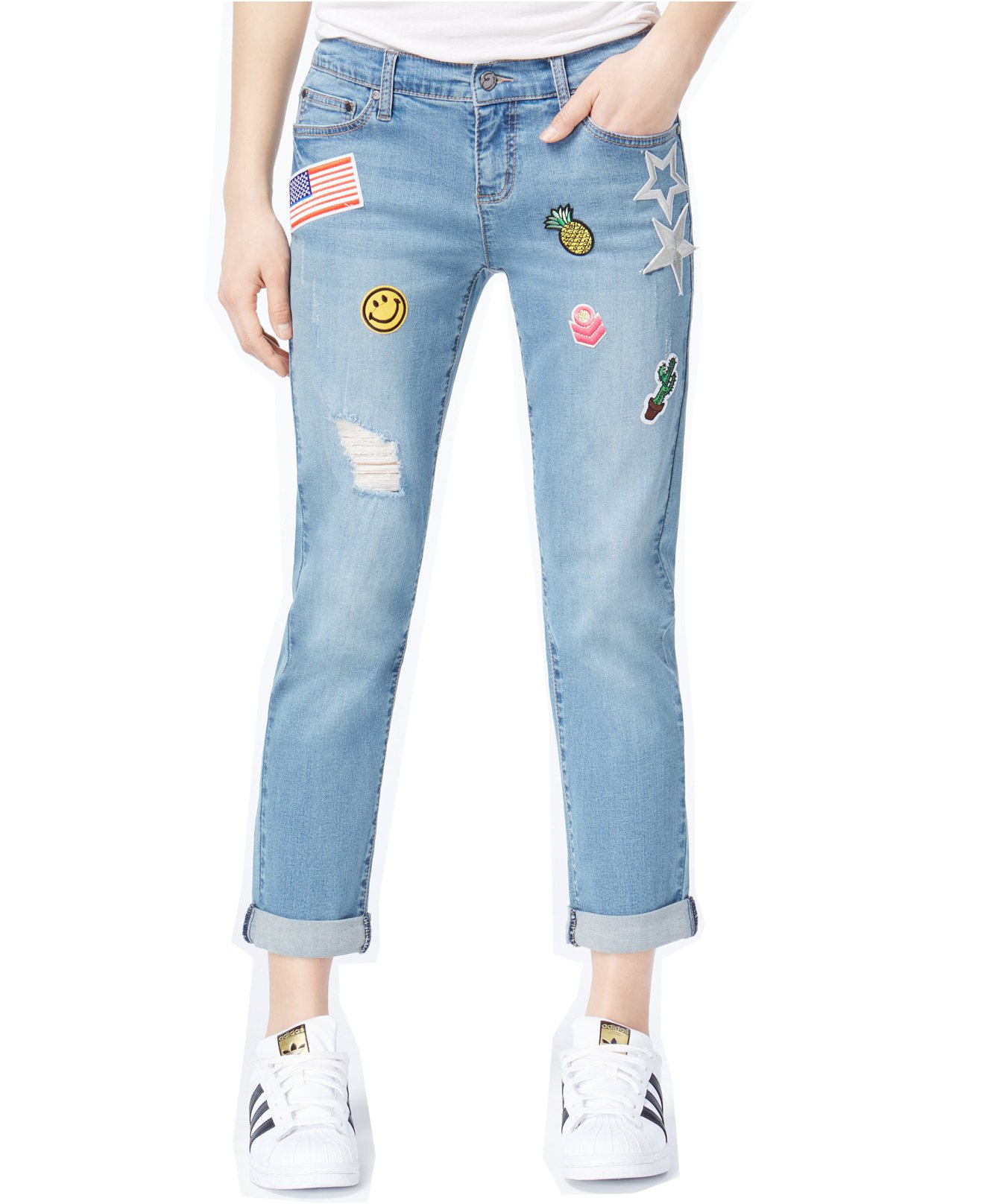 Earl Jean Women's Destructed Patched Boyfriend Jeans (Blue, 10) by Earl Jean