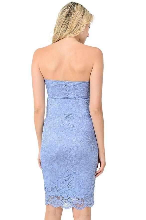 7923900c4c7ac Hello MIZ Women's Floral Lace Strapless Bodycon Tube Maternity Dress(Denim  Blue, Medium) at Amazon Women's Clothing store: