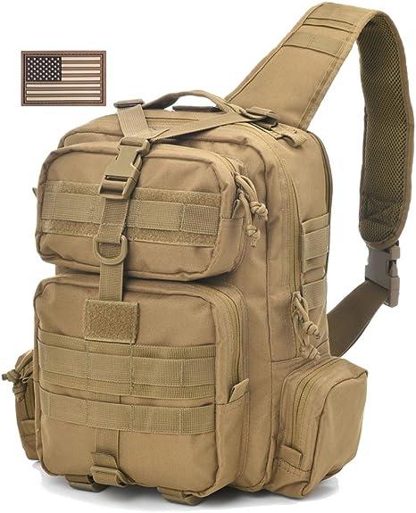 Tactical Sling Bag Pack Militar Rover Hombro Sling Mochila Molle – Bolsa para Equipo de Tiro Everyday Bolsa día Pack con Tactical Parche de Bandera de Estados Unidos, Bronceado: Amazon.es: Deportes y