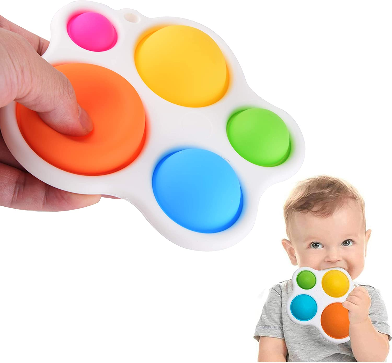 Rawskro Simple Dimple Fidget Toy,Kids Sensory Simple Dimple Fidget Toy for Ages 6 Months and Up Early Educational Toy,Dimple Fidget Toys for Kids and Adults Release Stress and Anxiety