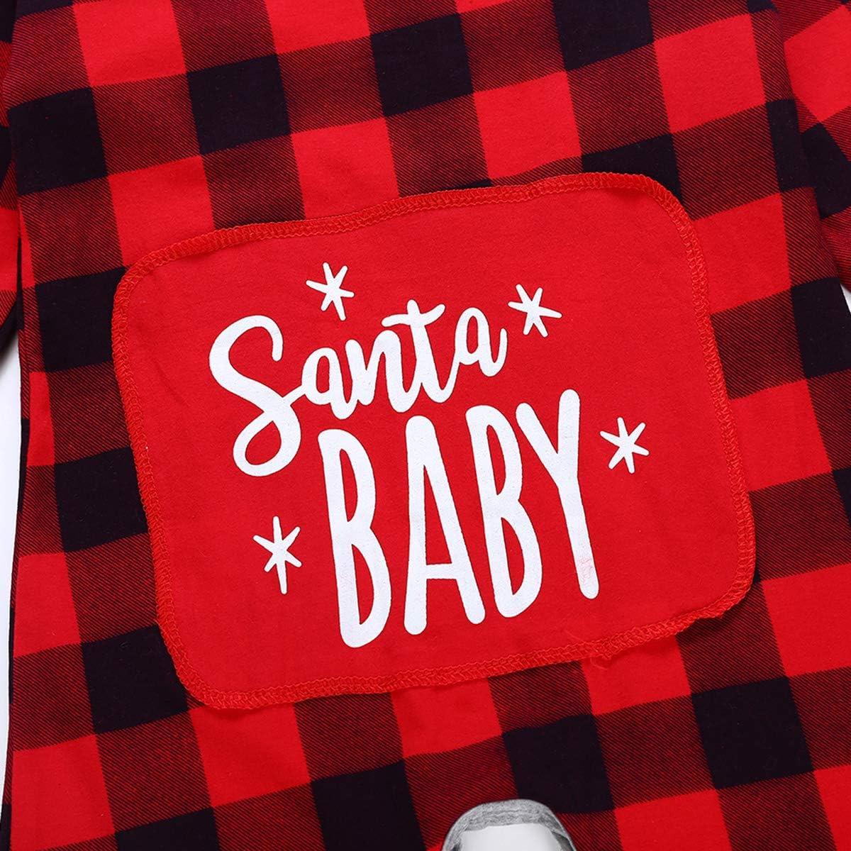 Baby Boy Girl Long Sleeve Christmas Santa Baby Plaid Romper Jumpsuit Pajamas