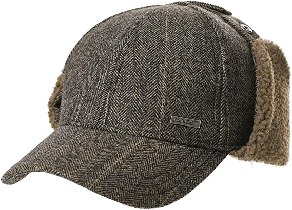 1x Mütze für Herren Ohrenschutz Nackenschutz Kunstleder schwarz Herrenmütze cap
