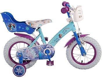 bicicleta niña 3 4 4,5 años Disney Frozen de 12 pulgadas ruedas extraíbles la cesta y portabambole azul: Amazon.es: Deportes y aire libre