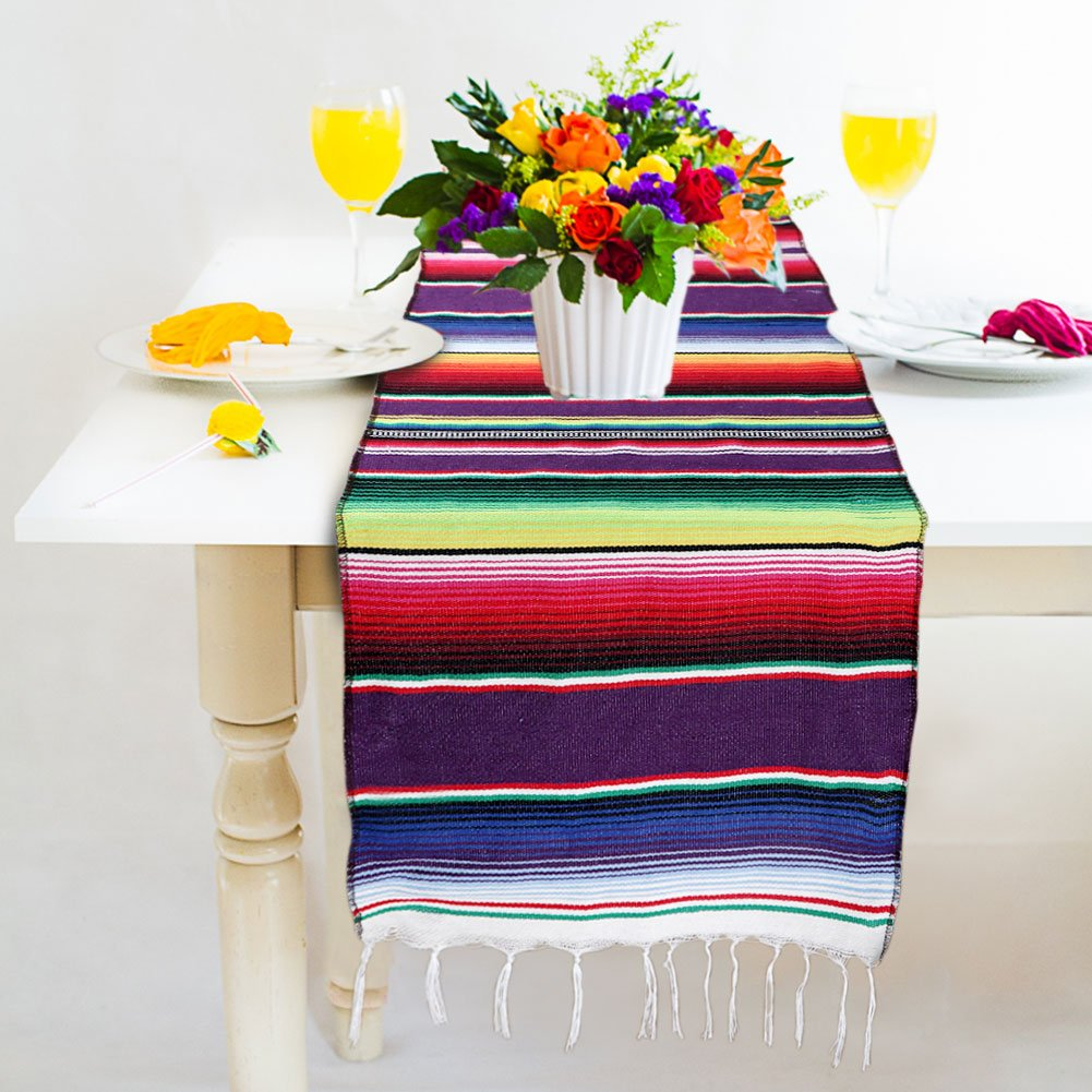 OurWarm 14 x 84 inch Mexican Serape Table Runner for Mexican Party Wedding Decorations, Fringe Cotton Table Runner by OurWarm (Image #4)