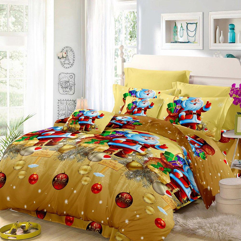 Anself 3D Printed Christmas Bedding Sets Duvet Cover + 2pcs Pillowcases + Bed Sheet