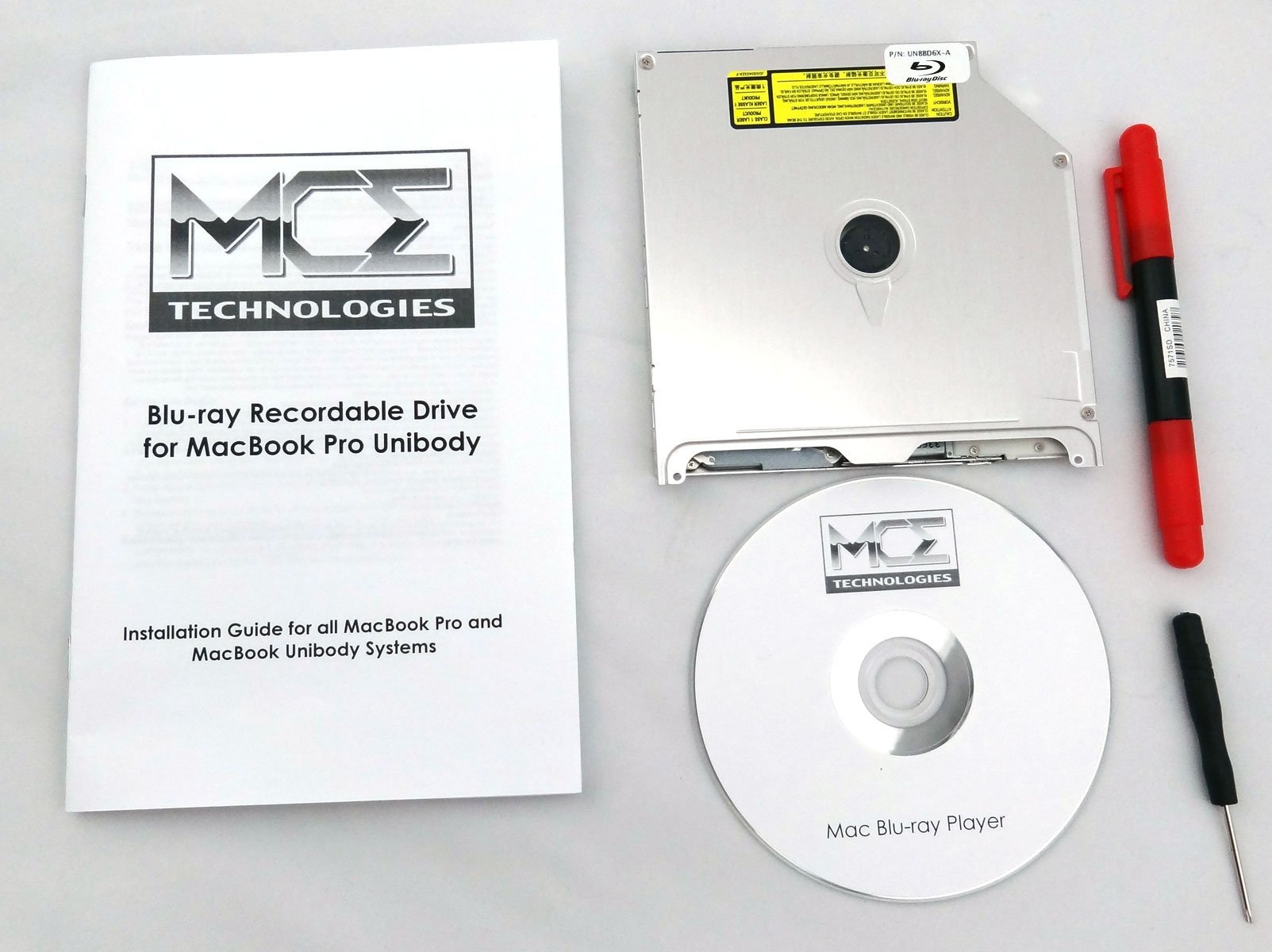 Internal Blu-ray Drive Burner Writer Player for Apple MacBook Pro 13'', 15'' and 17'' Unibody with Mac Blu-ray Player Software, Install Kit by MCE Technologies