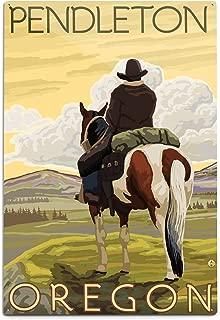 product image for Lantern Press Pendleton, Oregon - Cowboy and Horse 14447 (6x9 Aluminum Wall Sign, Wall Decor Ready to Hang)