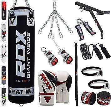 f28eade60 ... de Boxeo Relleno MMA Muay Thai Kick Boxing Artes Marciales con Soporte  Pared Cadena Guantes 17 PC 4FT 5FT Punching Bag  Amazon.es  Deportes y aire  libre