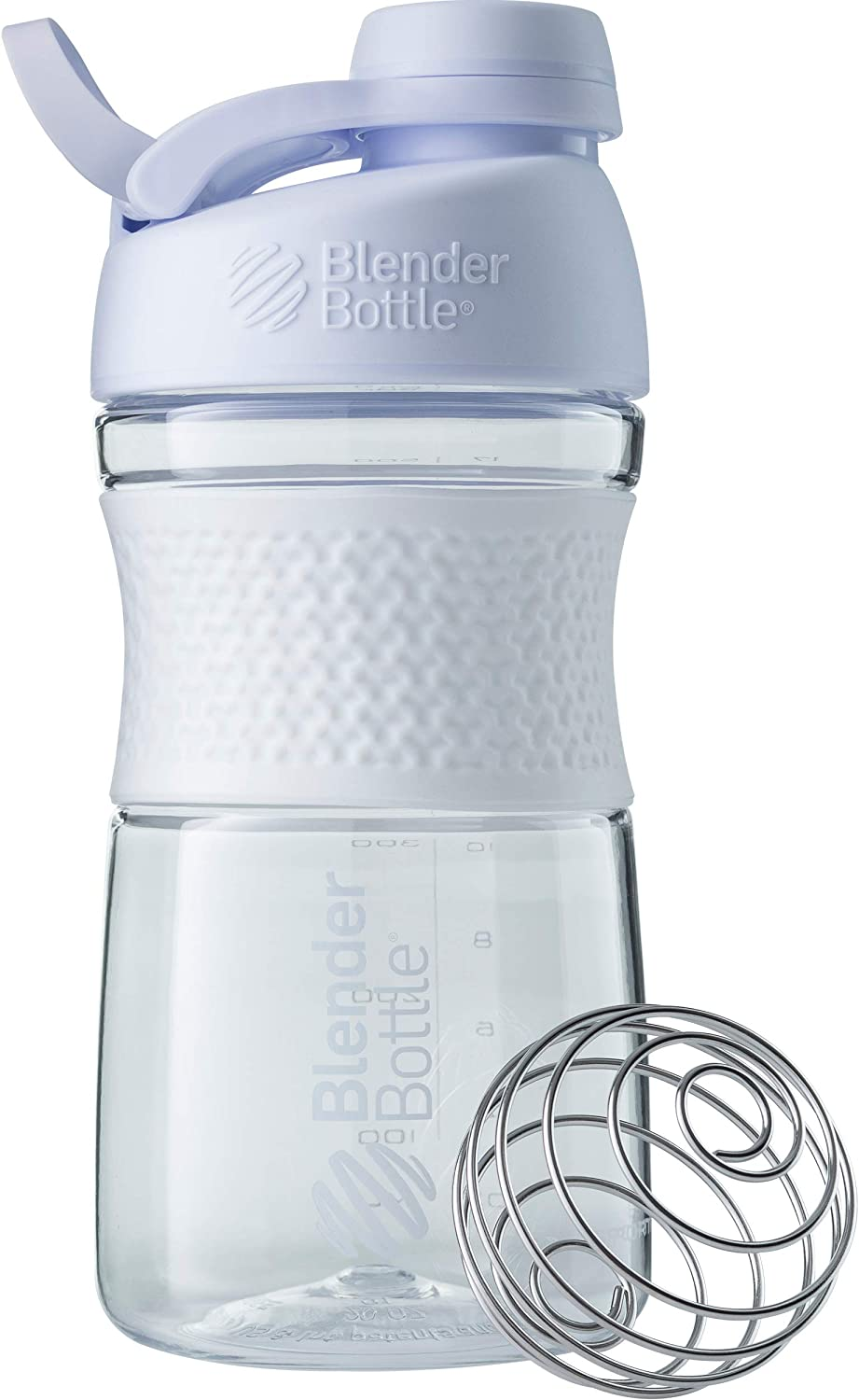 BlenderBottle SportMixer Twist Cap Tritan Grip Shaker Bottle, 20-Ounce, White