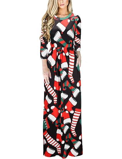 Ruiyige Calcetines de Navidad de Las Mujeres Imprimir Maxi Vestido de Fiesta de Navidad Negro 2XL: Amazon.es: Ropa y accesorios