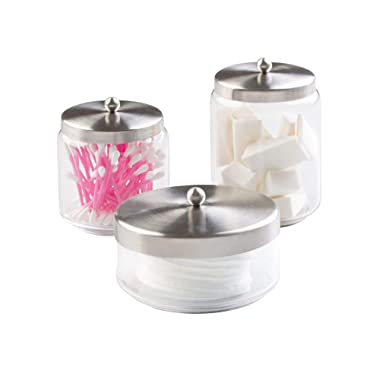 mDesign Round Bathroom Vanity Countertop Storage Canister Glass Jar Combo with Metal Lid for Cotton Swabs, Rounds, Balls, Makeup Sponges, Beauty Blenders, Bath Salts, Set of 3 - Clear/Brushed
