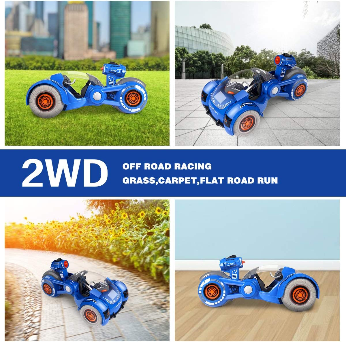 1:12 Scale Electric Race Stunt Car with Spray Function Rechargeable and Adjustable Lighting Mode Toy Car for Kids 3-12 Years Old Remote Control Car