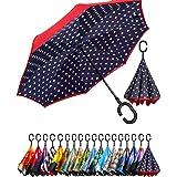 BAGAIL Double Layer Inverted Umbrella Reverse Folding Umbrellas Windproof UV Protection Big Straight Umbrella for Car Rain Ou