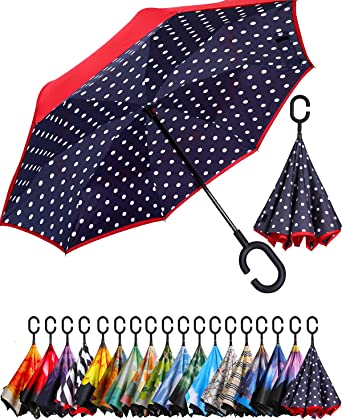 Cartoon Blue Whales Rainproof and Windproof UV Protection Double Layer Folding Inverted Umbrella with C-Shaped Handle Reverse Umbrellas For Car Rain Outdoor