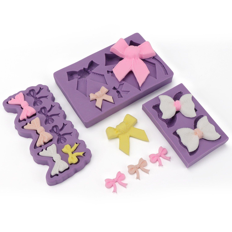 Bow Fondant Mold, Beasea 3pcs Candy Sugar Craft Fondant DIY Gumpaste Cake Decoration Cupcake Decorating Toppers Clay Purple by Beasea (Image #3)