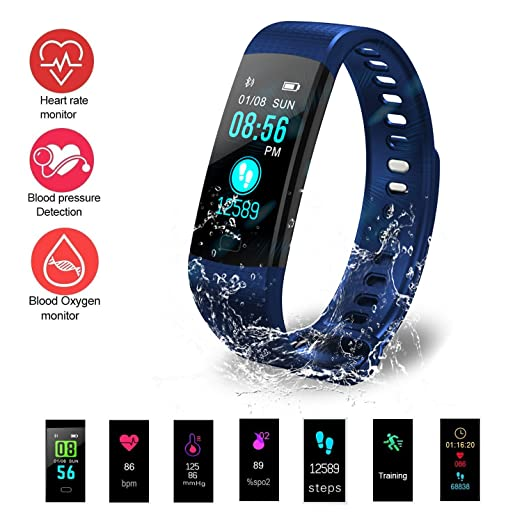 Fitness Tracker HR, Hagile Y5 Activity Tracker with Heart Rate Monitor  Watch, IP67 Waterproof Smart