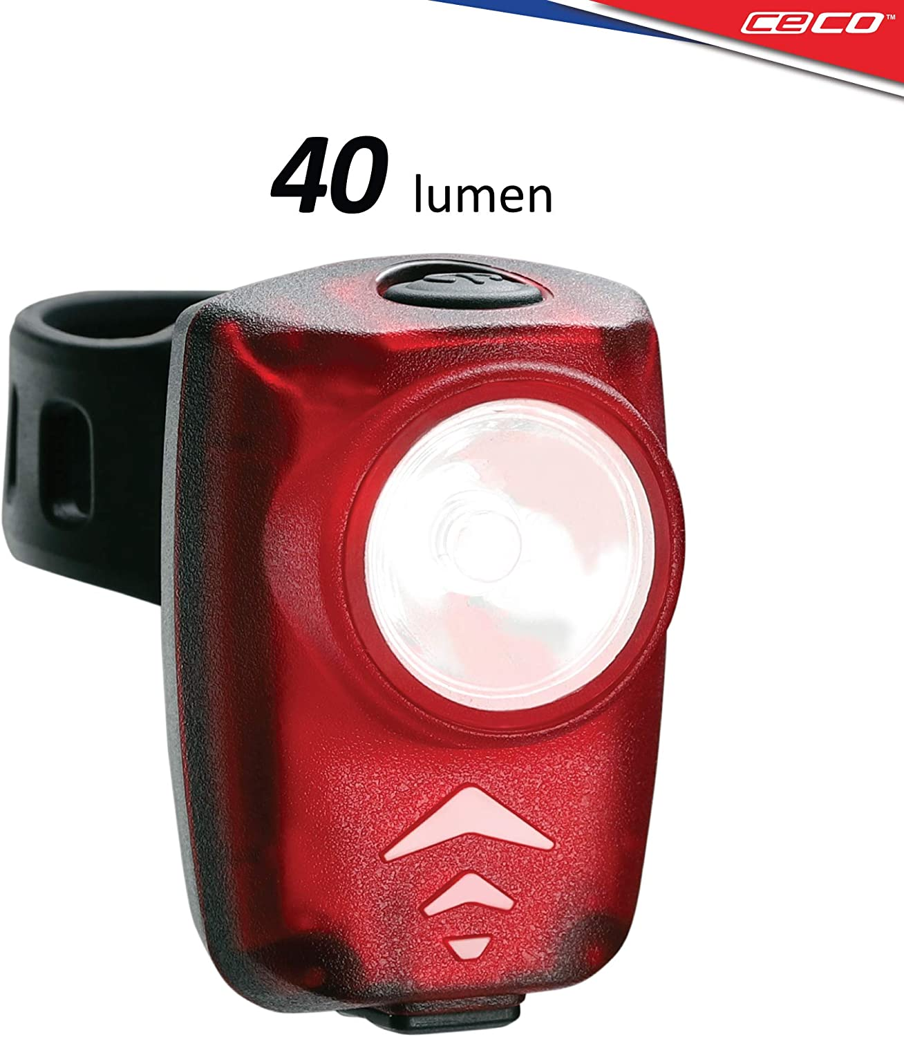 CECO-USA 40 Lumen USB Rechargeable Bike Tail Light – Super Bright Model T40 Bicycle Rear Light – IP67 Waterproof, FL-1 Impact Resistant – Red Safety Light – Pro Grade Quality Bike Tail Light