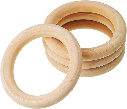 per bambini 5 pz 15 mm legno Kentop Anelli da denti in legno naturale
