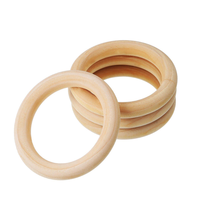 Kentop 5Stk Nat/ürliche Holz Zahnenringe Kinder Baby Holzringe Bei/ßringe Zahnen Ring Unfinished Safe Eco Teether size 15mm