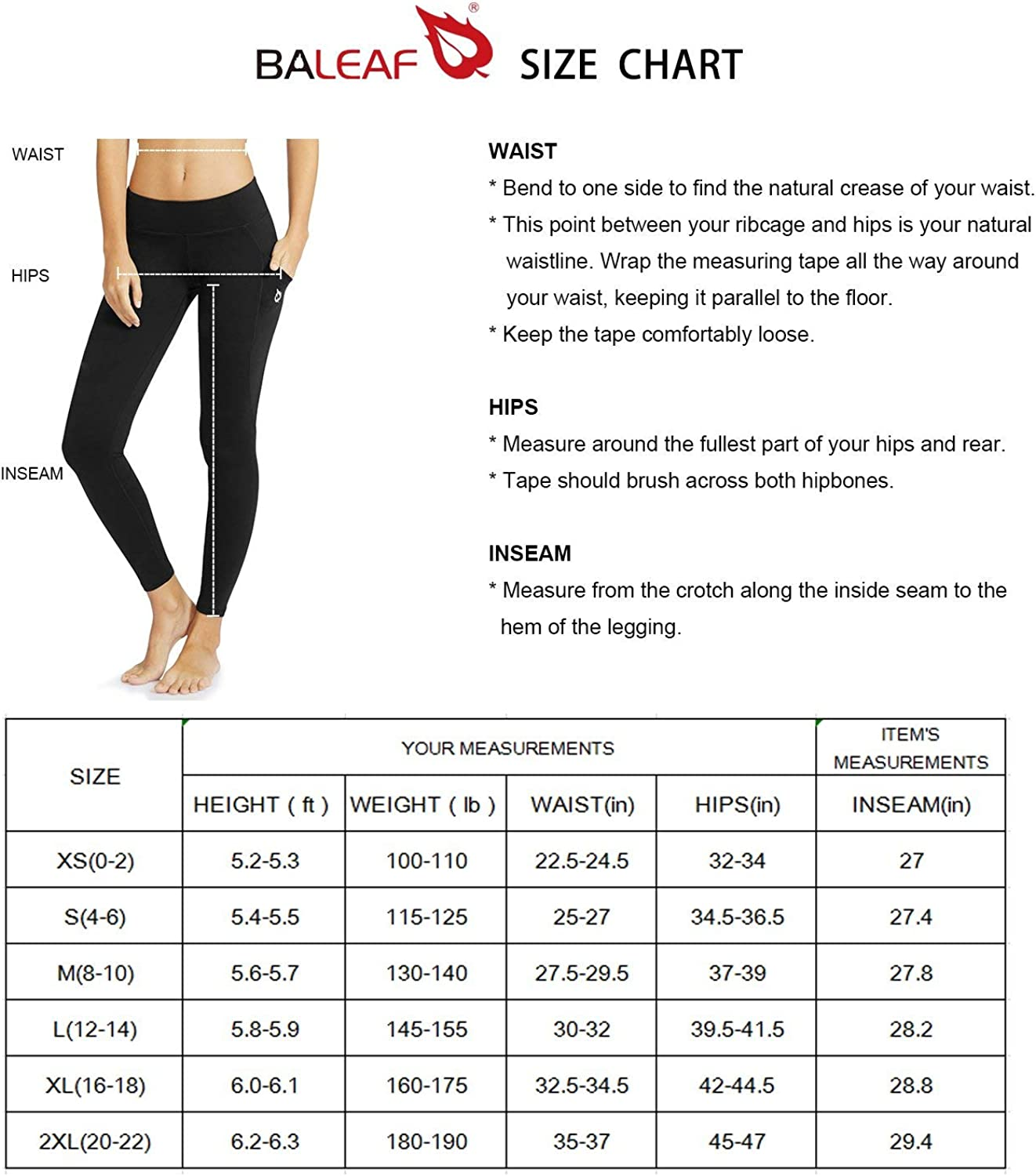 XS-2X Niagara XL BALEAF Womens Mid-Waist Yoga Leggings Side Pockets 28 Workout Running Athletic Pants