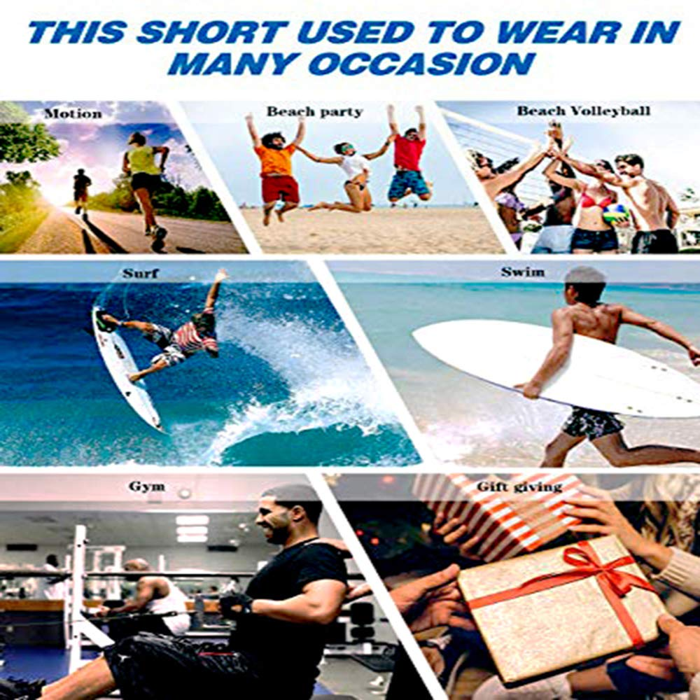 AGRBLUEN Men Fashion Beach Shorts Summer Swimming Trunks Quick Dry Pants